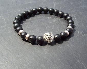 Men's Beaded Bracelet - Men's Bracelet - Tribal Bracelet - Fathers day - Gift for him - Onyx and Lion head Man's Beaded Bracelet