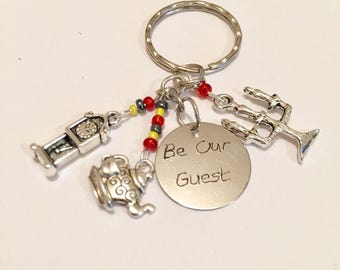 Be our Guest keyring, Beauty and the beast inspired keyring, Beauty and the Beast inspired keychain,  item 365 by CraftyLittleMonkeyGB