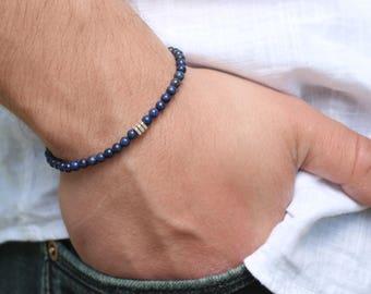 Mens Bracelet Lapis Lazuli Mens Beaded Bracelet Lazurite Bracelet Mens 4mm Bead Bracelet Boyfriend Gift Tribal Mens Surfer Bracelet