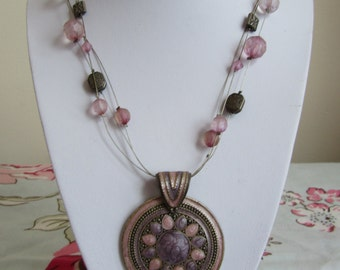 Vintage boho arty abstract multi strand enameled medallion 50cms 20 inches
