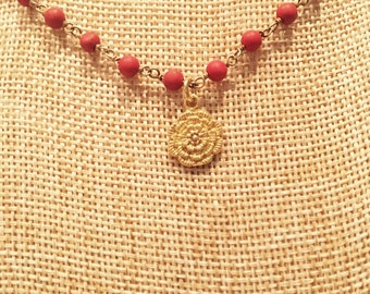 Red Magnesite Rosary Chain Necklace with Gold-Filled Floral Charm from India