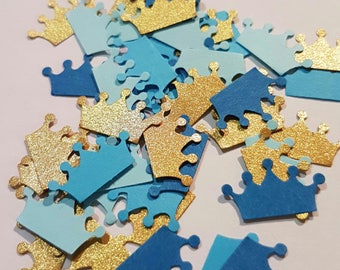 Baby Boy Paper Crown Confetti in blue.  Suitable for baby shower, scrap booking, card making or party decoration.