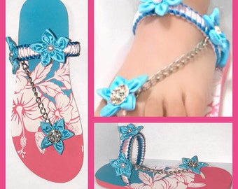 Floral chain T-strap sandals made with handcrafted flowers/design to feel comfortable/feminine for any day.