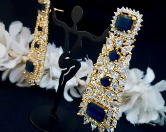 Neelam Crystal Earrings | Blue Bridal Earrings