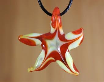 Starfish Necklace, Starfish Pendant, Starfish Jewelry, Sea Star Pendant, Sea Star Necklace,  Ocean Jewelry, Glass Starfish, Heady Glass