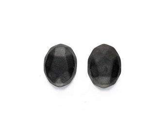Ceramic Facet Black Matte Cabochons 1 pair