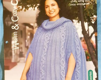 """2001 House of White Birches Warm and Cozy Misses Cape Aran Cables OSFA up to 60"""" Knitting Pattern Leaflet"""