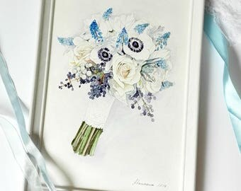 Custom Wedding Bouquet Painting  ORIGINAL painting  Holiday gift Briddal Bouquet Painting  Anniversary Gift  Custom painting from photo