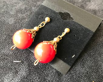 Red Sphere Dangle Earrings