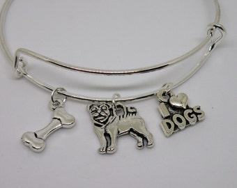 Silver Pug bangle bracelet with 3 top quality charms.