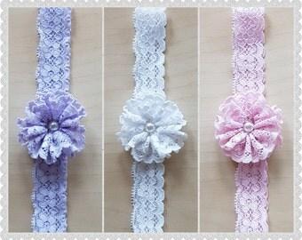 Lace flower headband - stretch lace headband - handmade headband - flower headband - ruffle flower - floral lace headband