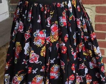 Retro skirt, vintage inspired skirt, rockabilly skirt, full skirt, 1950s inspired skirt, novelty skirt, skull skirt, day of the dead skirt