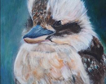 KOOKABURRA, Archival Art Print, Home Decor, Animal Art, Bird Art, Australian Animal Painting, Nursery Wall Art, Kookaburra Lovers Gift
