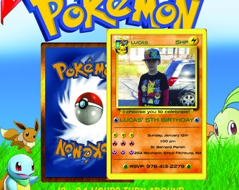 pokemon invitation, pokemon birthday invitation, pokemon birthday, pokemon card, pokemon party, pokemon invite, pokemon go, pokemon orange