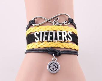 Pittsburgh Steelers Love Friendship Charm Bracelet