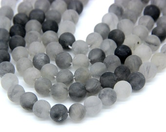 Matte Gray Quartz Beads 6mm 8mm 10mm Matte Cloudy Quartz Natural Gray Bead Gray Gemstones Gray Quartz Mala Beads Gray Supplies Bracelet