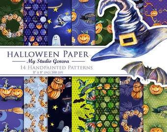 Halloween Paper Pack, Аutumn Watercolor Paper, Digital Halloween, Fall Digital Paper, Halloween Scrapbook,  Digital Patterns, Pumpkin Paper
