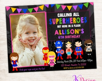 Superhero Girl Invitation, Girl Superhero Invitation, Girl Superhero, Printable Birthday Invitation