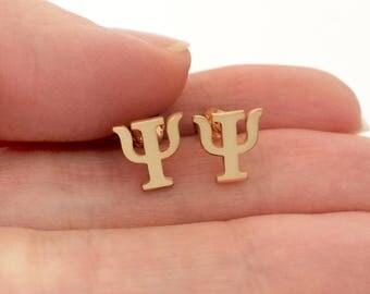 Greek Psi Earrings in Sterling Silver Metal, Psi Earrings, Silver Stud Earrings, Psi Jewelry, Greek Letter Jewelry, Graduation Gift