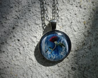 """""""Beauty and the beast - the Rose"""" necklace, bronze and glass"""