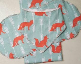 Beautiful combo: Receiving Blanket, Burping cloth, and Bibdana