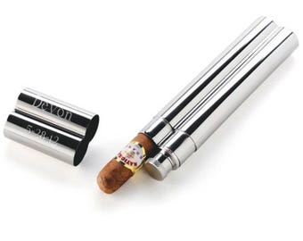 Personalized  Stainless  Steel Cigar Case and Flask, Cigar Flask, Cigar Holder, Husband Gift, Groomsmen  Gift