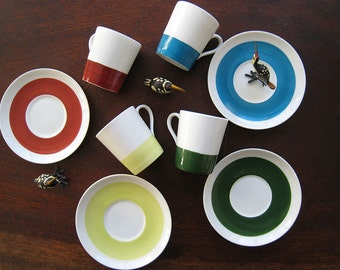 GUSTAVSBERG - STIG LINDBERG rare vintage  color mocca cup and saucer in beautiful colors