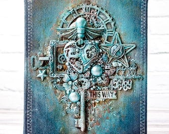Notebook with denim mixed media cover