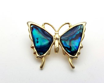 Beautiful Teal Butterfly Brooch Gold tone metal Vintage from the 90s Enamel Finish Gift for her, daughter, friend Flying Wings Dark Blue