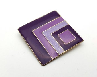 Purple Square Lozenge Painted Enamel on Metal Vintage from the 90s Abstract Geometric Shape