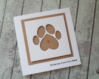 Pet sympathy card / Loss of your pet card / Cat sympathy card / dog sympathy card / handmade sympathy card / cards UK / rainbow bridge card