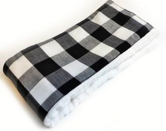 Black Plaid Burp Cloth - Cloth Diaper Burp Cloth - Baby Essential - Baby Shower Gift