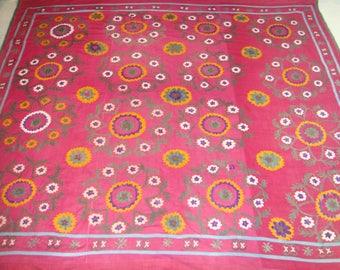 Big Sale!!! Vintage UZBEK SUZANI Handmade silk Embroidery on cotton fabric (213x196 cm 84 х 77 inch)