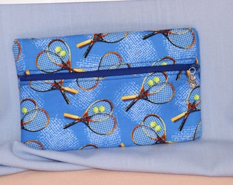 Front Zip Tennis Pouch with Tennis Charm