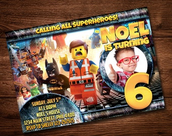 Lego Birthday Invitation, Party Invitation, Boy Invitation, Lego Printable, Lego Batman, Lego Party Card