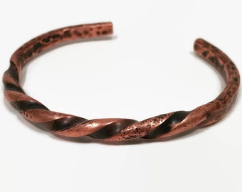 Twisted Copper Cuff / Hammered Spiral / Rugged Jewelry / Men's + Women's Bracelet / Upcycled Copper Bracelet / Gift for Him / Gift for Her