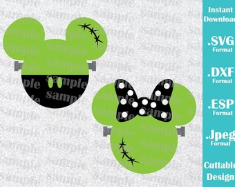 INSTANT DOWNLOAD SVG Disney Inspired Halloween Minnie and Mickey Ears Cutting Machines Svg, Esp, Dxf and Jpeg Format Cricut Silhouette