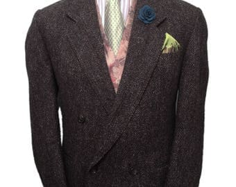 Very Rare Harris Tweed 40 Short Double Breasted Sports/Country Jacket. Dark Grey Herringbone, Jacket Has Working Cuffs