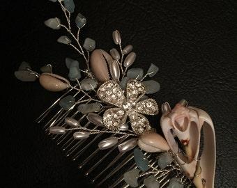 Amazonite and Sea Shell Bridal Hair Comb Beach Destination Wedding Hair Comb
