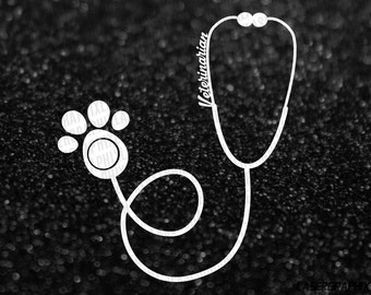 Veterinarian Stethoscope Vinyl Decal Sticker - Animal Lover Pet Doctor - 24 Color Choices - Multiple Sizes