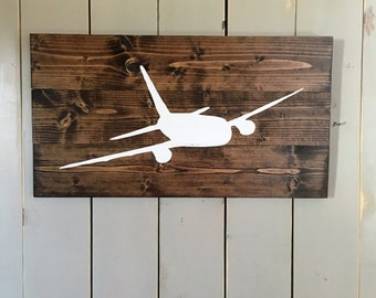 Airplane Sign | Aviation Sign | Pilot Gift | Aviation Wood Sign | Aviation Gift | Airliner | Boys room Decor | living room decor