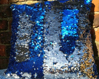 Sparkling Royal blue and silver two tone sequin cushions