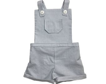 Stripe Shorts Romper With Buttons