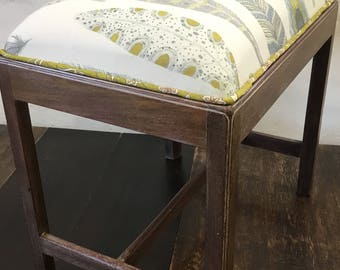 Antique Upcycled George III (c1780)  Piano Stool/Vanity Seat/Ottoman - Newly Reupholstered Top and Limewaxed Solid Mahohany Base. VGC