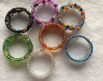 Colourful Seed Bead Adjustable Memory Wire Ring