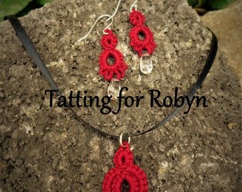 Tatted Necklace and Earring Set