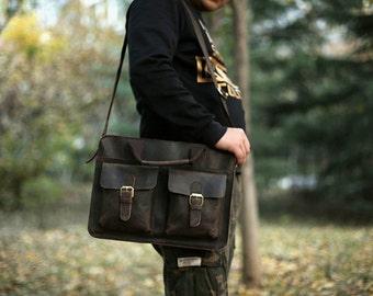 Vintage Brown Leather Messenger Bag/Laptop Bag/ Briefcase/ Travel Bag/ Work Bag