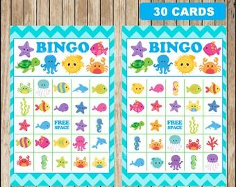 Printable 30 Under The Sea Bingo cards; printable Under The Sea Bingo game, Under The Sea party Game instant download