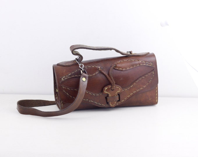 handmade leather bag, brown leather shoulderbag, ladies handbag, rustic boho fashion handbag