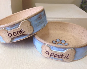 Handmade, wheel thrown, stoneware dog bowls